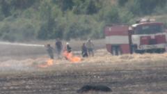 Пожарите край Елхово овладени, но гасенето продължава