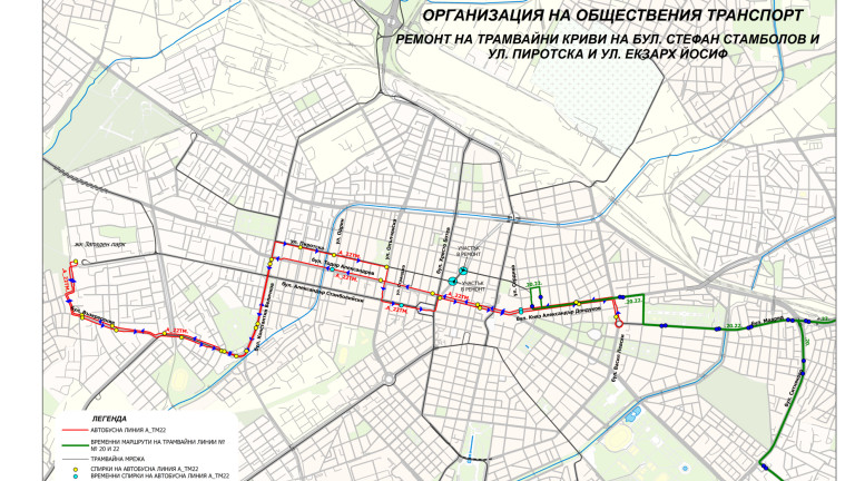 Започва ремонт на трамвайното трасе в района на Женския пазар