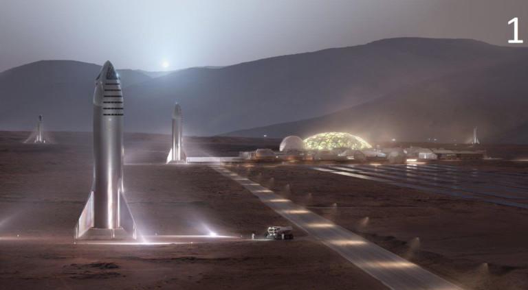Така би изглеждал Starship на Марс