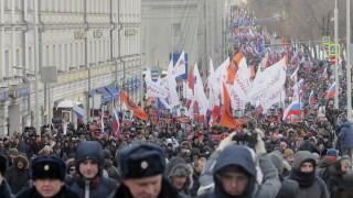 Хиляди на марш в Москва почетоха Борис Немцов