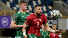Северна Ирландия - България 0:0, греда за домакините