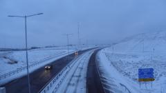 "Обилен снеговалеж на АМ ""Тракия"""