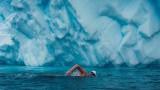 Луис Пю, Антарктическата полярна шапка и първият човек, който преплува глетчерно езеро