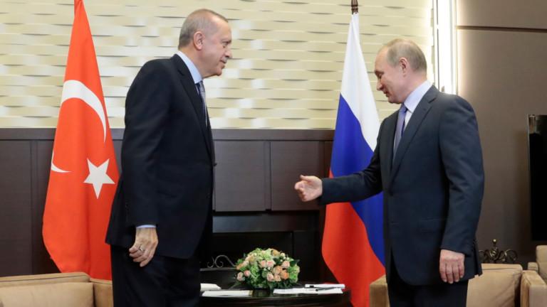 Президентите на Турция и Русия Тайип Ердоган и Владимир Путин