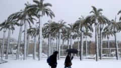 Сняг затрупа Израел, валя дори в пустинята Негев