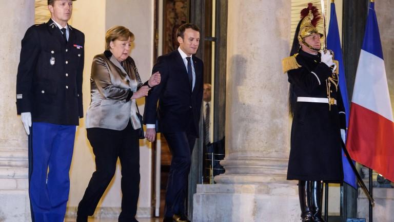 Канцлерът на Германия Ангела Меркел и френският президент Еманюел Макрон
