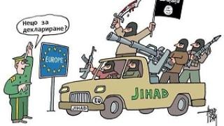 Карикатуристи рисуват по темата бежанци