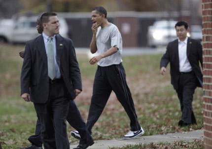 Сцепиха устната на Обама в баскетболен мач