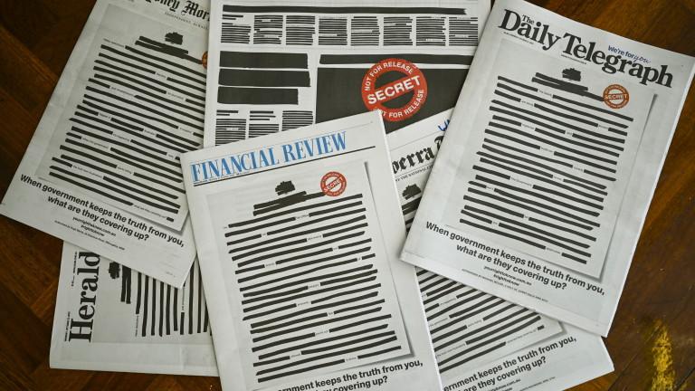 Най-големите вестници в Австралия излязоха днес с цензурирани първи страници