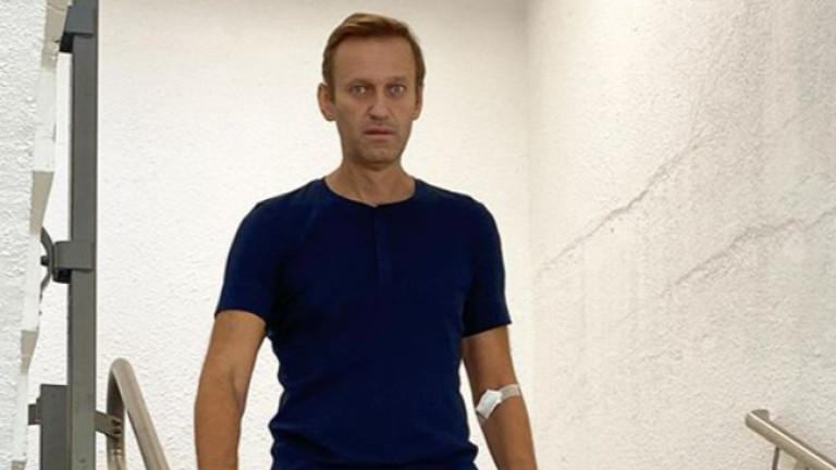 Руският опозиционен политик Алексей Навални е забелязан да слиза по
