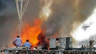 Пожар в търговска част на Дака