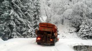 Тир и четири коли закъсаха в снега на пътя Острово - Завет