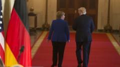 Меркел среща Тръмп с негови роднини в Германия