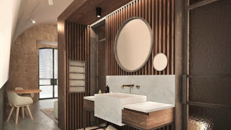Дизайн на баня и коридор в реновираната крепост.