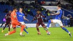 """Лестър временно пред Юнайтед във Висшата лига, късен обрат за """"лисиците"""" срещу Брайтън"""