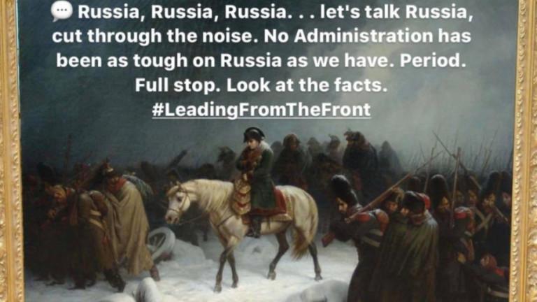 """Русия отговори на Помпео с картината """"Отстъплението на Наполеон"""""""