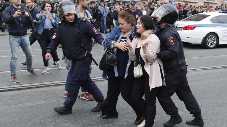 Около 500 души протестират в Санкт Петербург срещу пенсионната реформа
