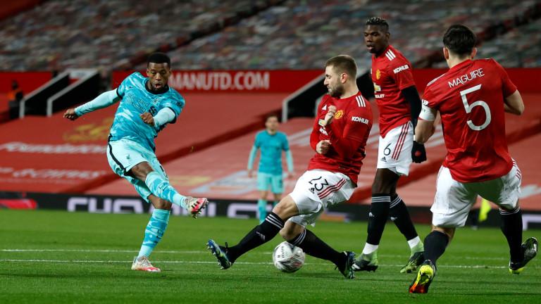 Манчестър Юнайтед - Ливърпул 3:2, гол на Бруно Фернандеш