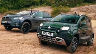 Fiat Panda победи Tesla Model X в офроуд състезание (Видео)