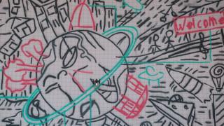 Дронове украсиха празна стена в Торино с огромен графит