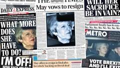 Как отрази печатът на Острова предложението на Мей за оставка и гласуванията?