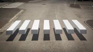 3D пешеходна пътека стряска шофьорите
