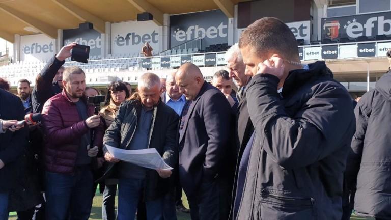 Министър-председателят Бойко Борисов посети стадионите на