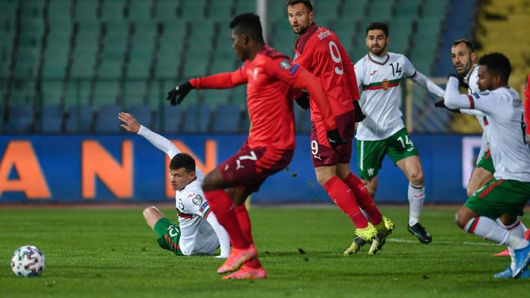България - Швейцария 1:3 (Развой на срещата по минути)