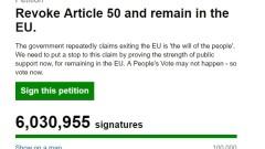 Над 6 млн. души с петиция за отмяна на Брекзит
