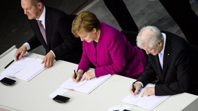 Консерваторите на германския канцлер Ангела Меркел и социалдемократите официално подновиха