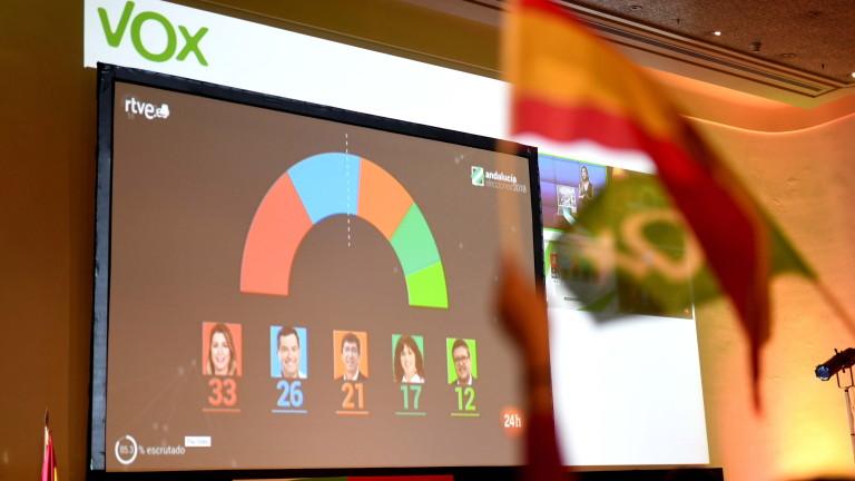 Снимка: За първи път от десетилетия крайнодясна партия спечели парламентарни места в Испания