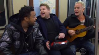Стинг, Шаги и Джеймс Кордън пеят в метрото