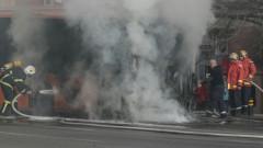 Автобус се запали в движение край габровско село