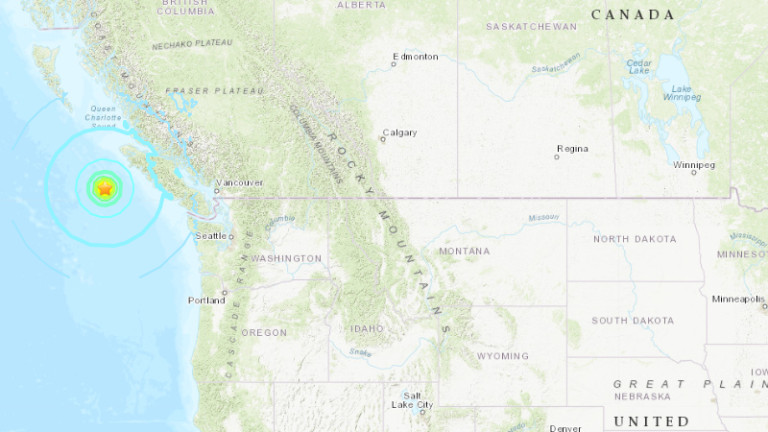Три земетресения над 6,5 и едно от 4,9 удариха западното крайбрежие на Канада