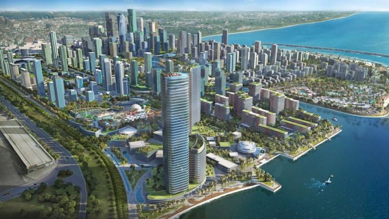 Строежът на чисто новия град Порт Сити в Шри Ланка