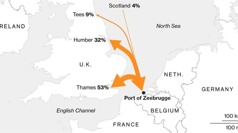 Над 17 млн. метрични тона храни, текстил, химикали, автомобили, машини и други стоки са пътували между Брюж и Великобритания през 2017 г.