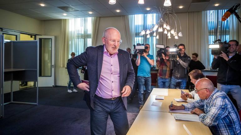 В добро настроение Франс Тимерманс гласува на изборите за Европейски