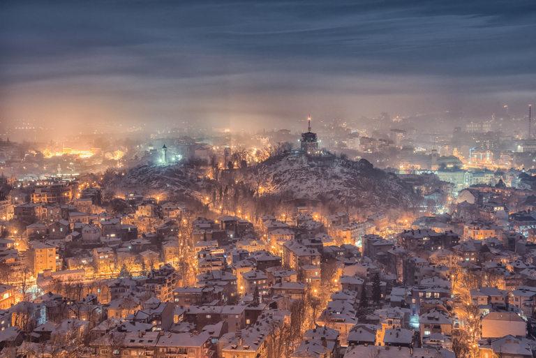 Заснежен Пловдив отвисоко