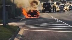 Кола се запали в движение и изгоря в София