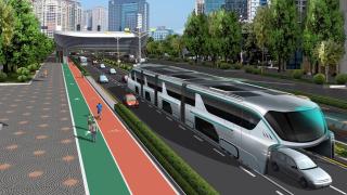 Футуристичното надземно метро, минаващо над колите и превозващо по 1200 души