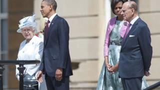 Обама на банкет при Елизабет II