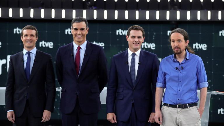 Лидерите на четирите водещи партии в Испания, които ще участват