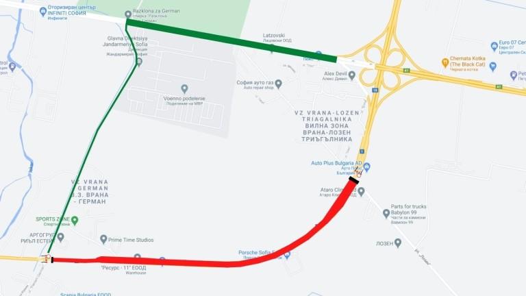 За три часа в неделя сутрин затварят участък от Южната дъга на Околовръстния път