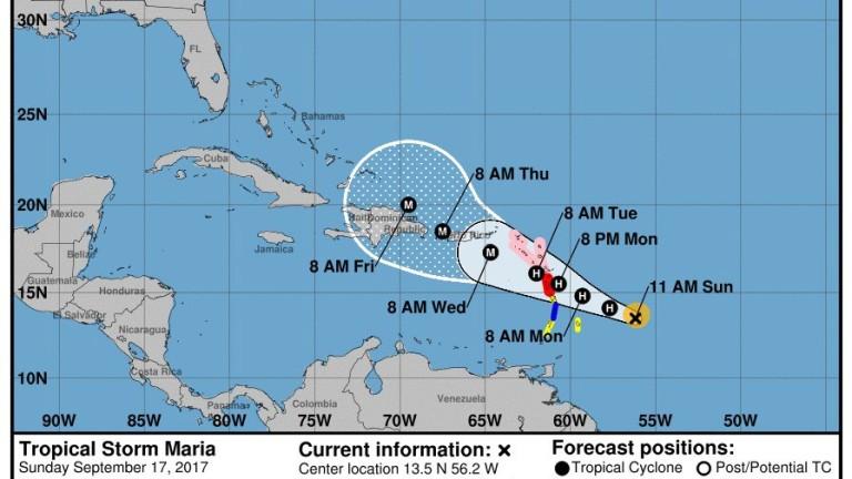 """Ураганът """"Мария"""" се превръща в голяма буря на Карибите"""