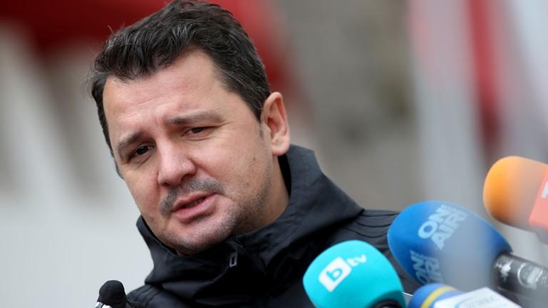 Треньорът на ЦСКА Милош Крушчич говори пред медиите преди първата