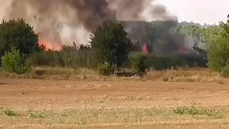 Пожарът в района на военния полигон Корен, който върви източно