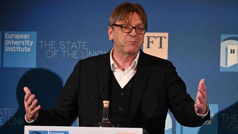 Ги Верхофстат, лидерът на либералите в Европейския парламент, предизвика Матео