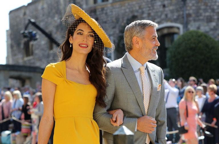 Джордж и Амал Клуни на сватбата на Хари и Меган
