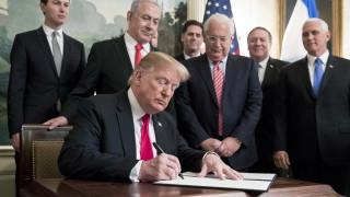 Тръмп официално призна суверенитета на Израел над Голанските възвишения