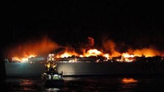 Мощна експлозия запали ферибот в Балтийско море